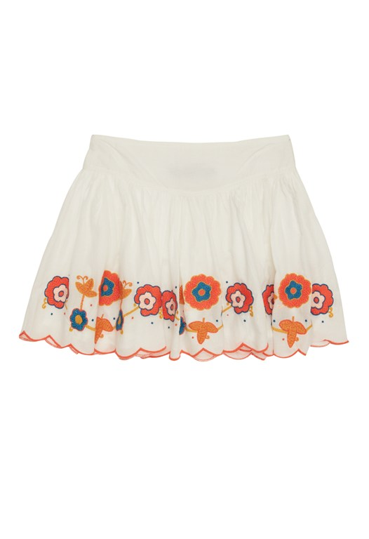 French Connection Floral Voile Skirt White
