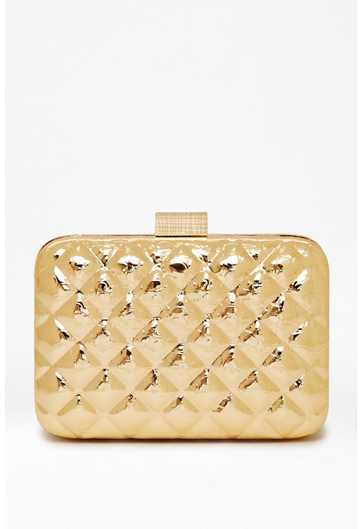 Tabbie Metallic Box Clutch