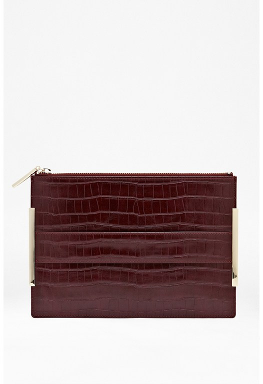 Sherry Croc-Effect Clutch