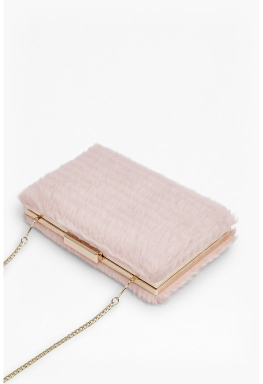 Meg Stripy Fur Clutch