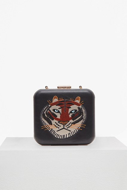 Embroidered Tiger Face Box Clutch