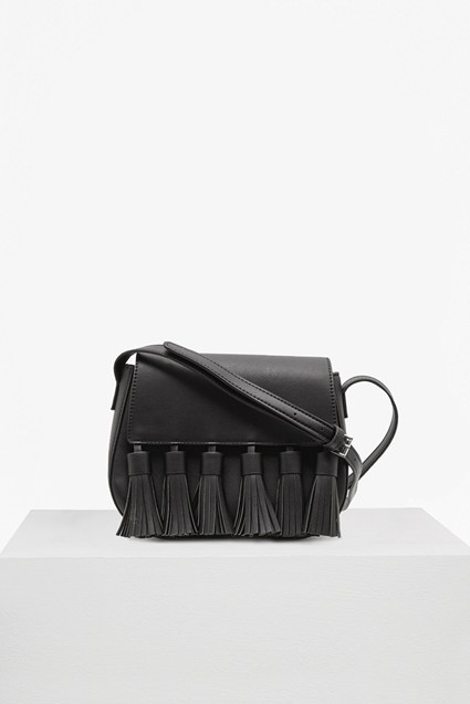 Multi Tassel Faux Leather Saddle Bag
