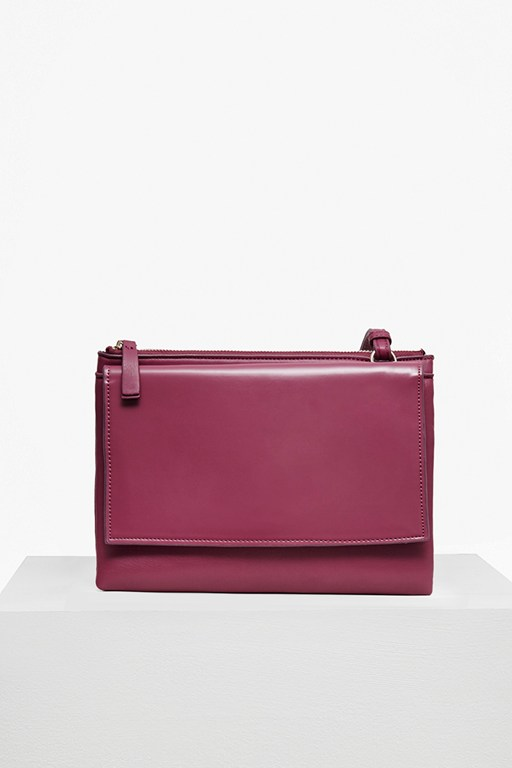 Clean Faux Leather Zip Trio Bag
