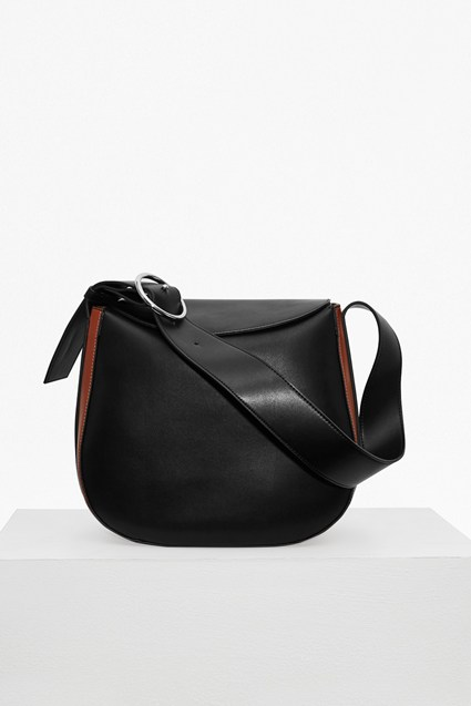 Oversized Buckle Moon Faux Leather Bag