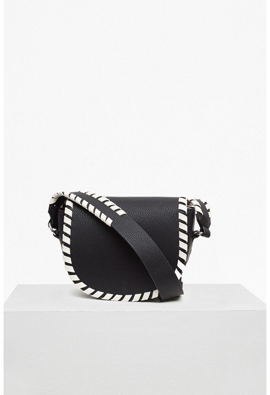 Whipstitch Faux Leather Saddle Bag