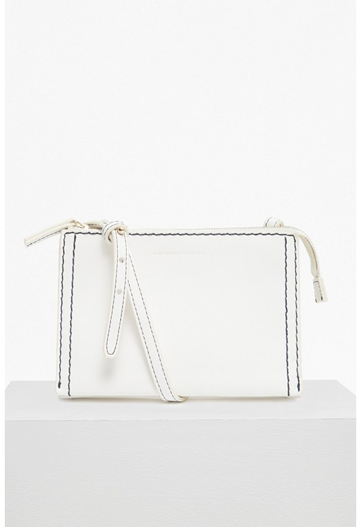 Stabstitch Faux Leather Cross Body Bag