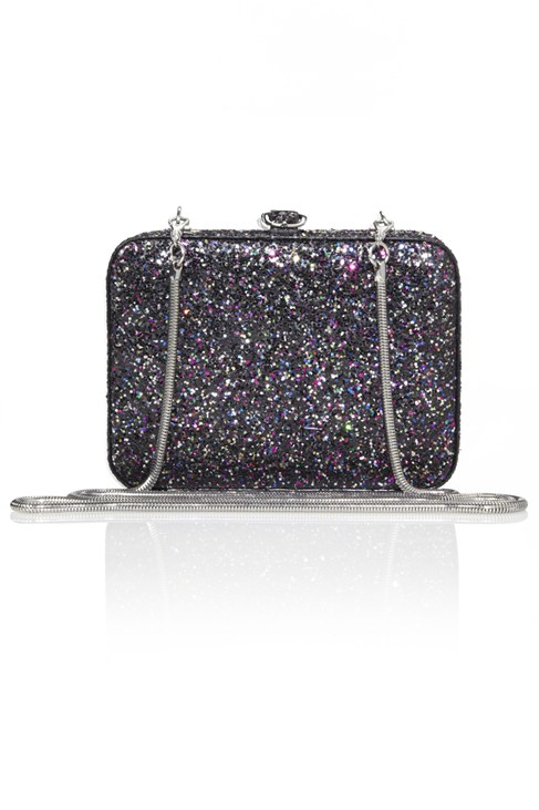 Twinkle Glitter Box Bag Black
