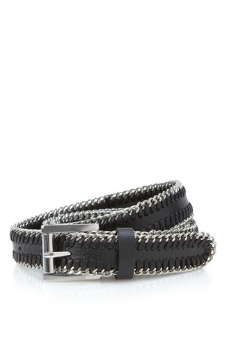 Metal Link Edged Leather Belt