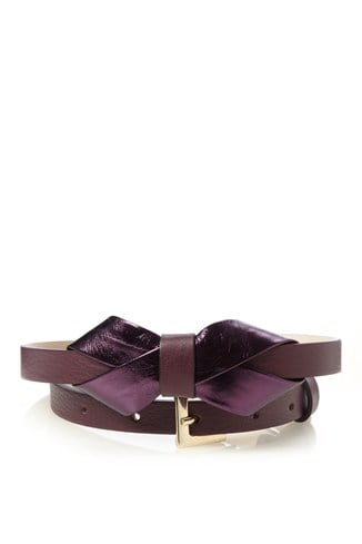Leather Metallic Bow Belt
