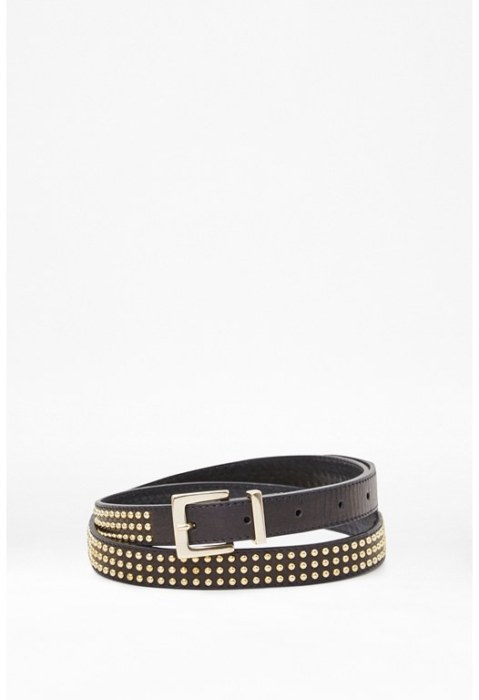 Isabelle Stud Leather Skinny Belt