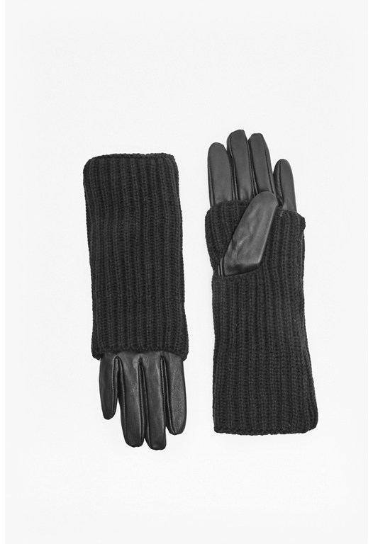 Ribbed Knit and Leather Gloves