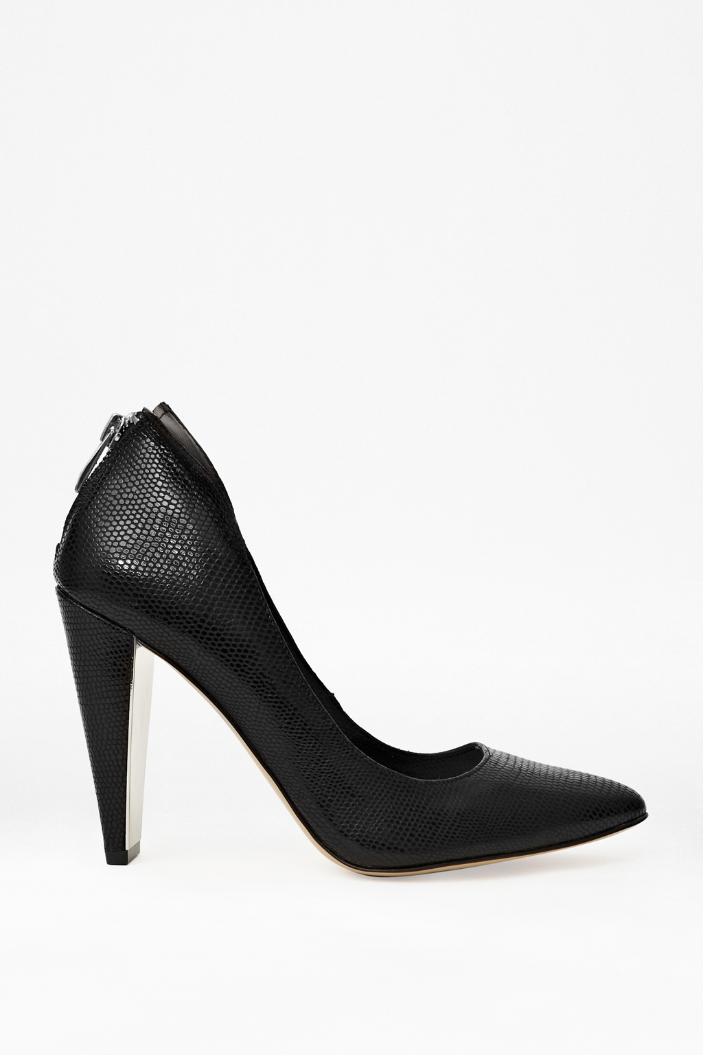 Myka Black Lizard Zipped Heels