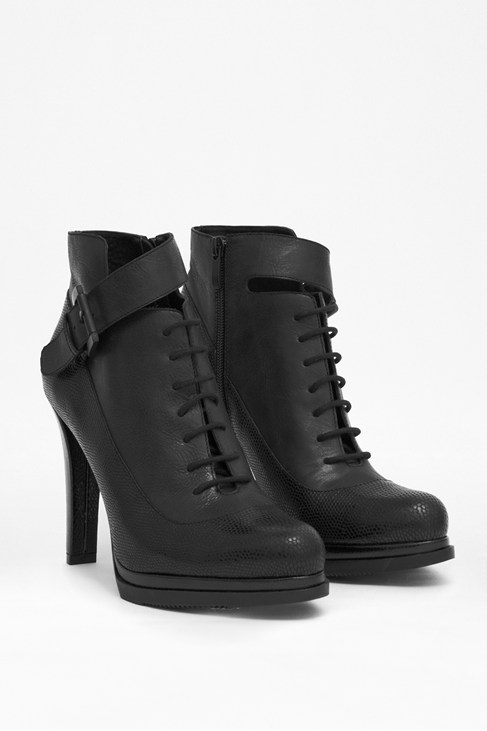 Sasha Lace-Up Black Leather Ankle Boots