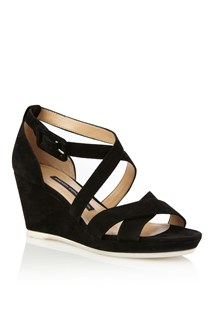 Sara Leather Cross-Over Wedges