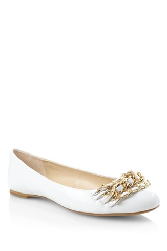Chain Ballerina Pumps White