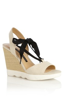 Jean Canvas Raffia Sandals