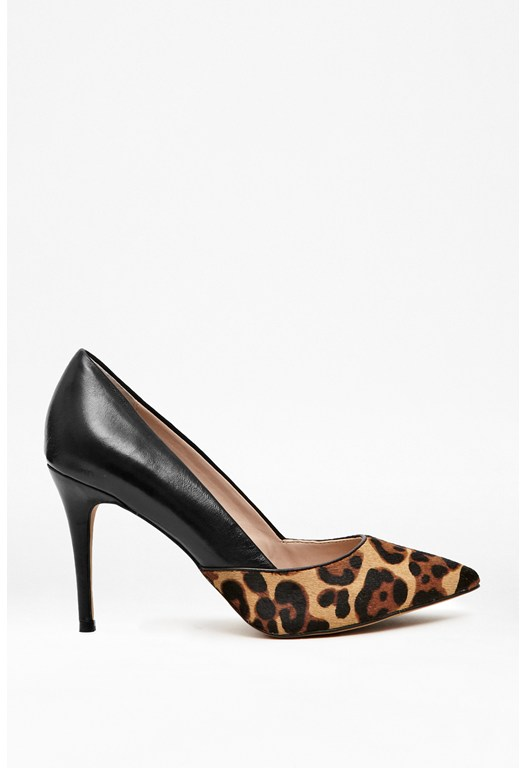Elsynn Leather & Leopard Print Heels