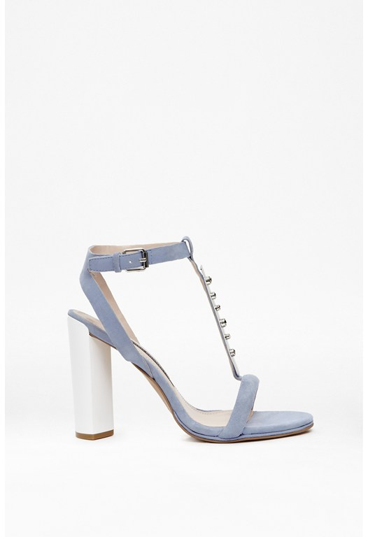 Embellished Suede T-Bar Heels