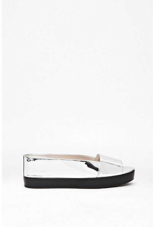 Pepper Metallic Leather Sliders