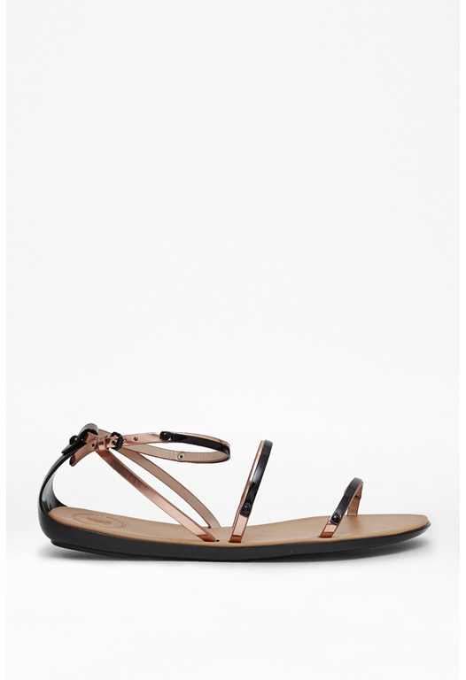 Talia Leather Metallic Sandals