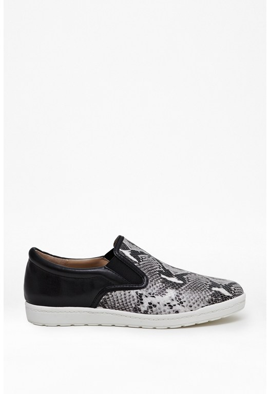 Anneka Python Print Leather Sneakers