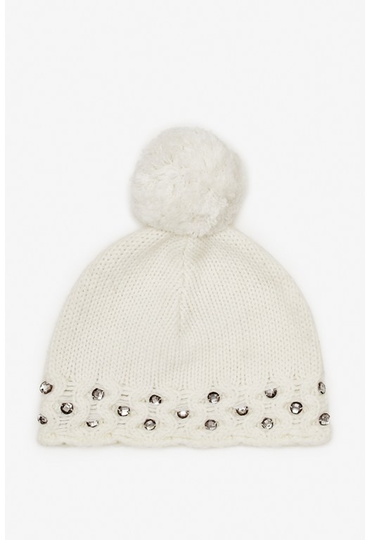 Lily Beaded Bobble Hat