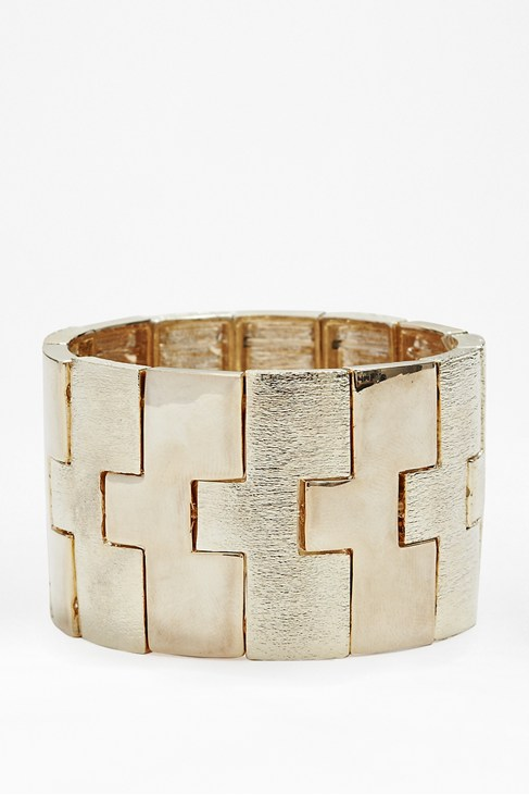 Etched Metal Stretch Bracelet