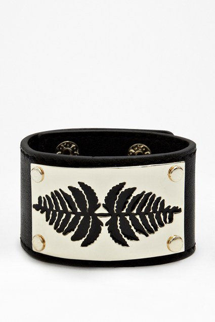 Laser Fern Leather Cuff
