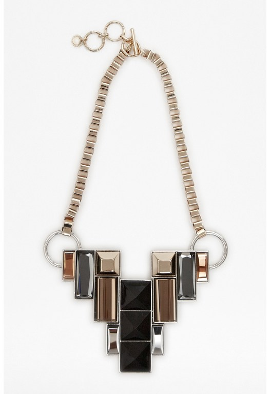 Geometric Stone Bib Necklace