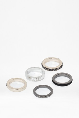 Geo Stone And Metal Stacking Rings