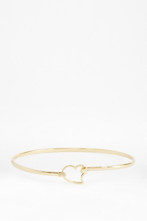 Fine Arrow Through Heart Bangle
