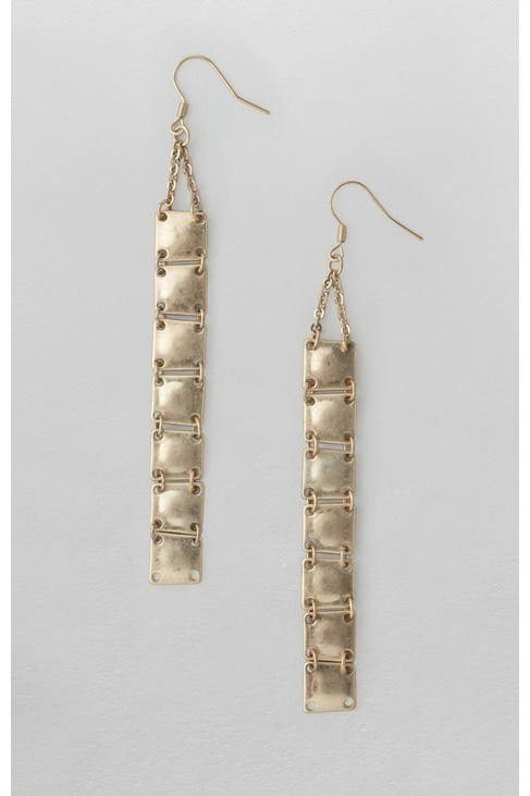 Beaten Square Long Drop Earrings