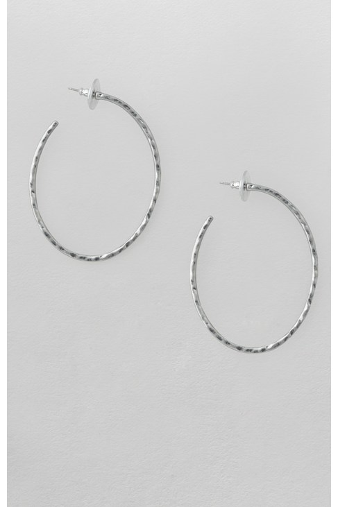 Beaten Oval Hoop Earrings