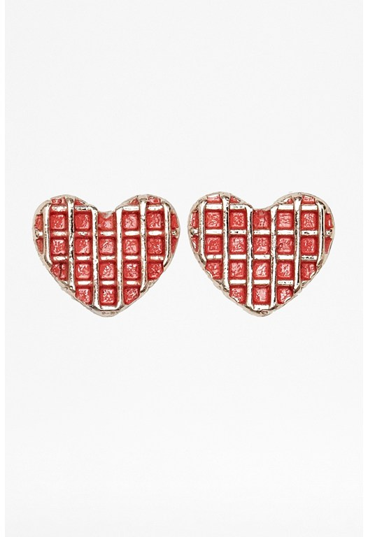 Waffle Heart Earrings