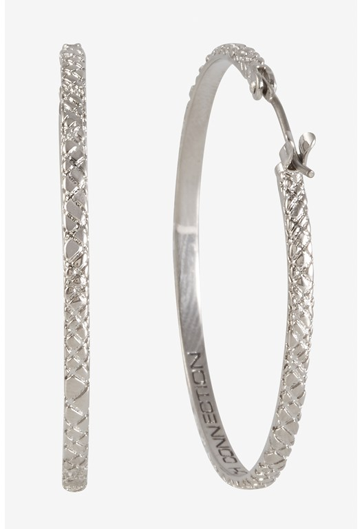 Signature Medium Textured Hoop Earrings