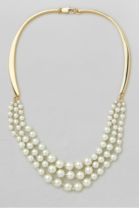Graduated Glass Pearl Collar