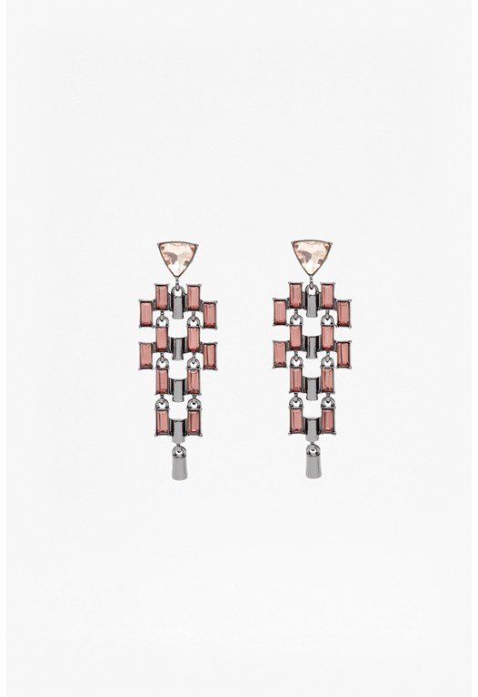 Tiered Stone Chandelier Earrings