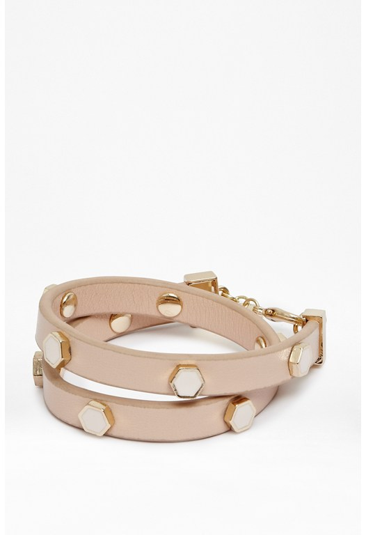 Hexagon Stud Double Wrap Bracelet