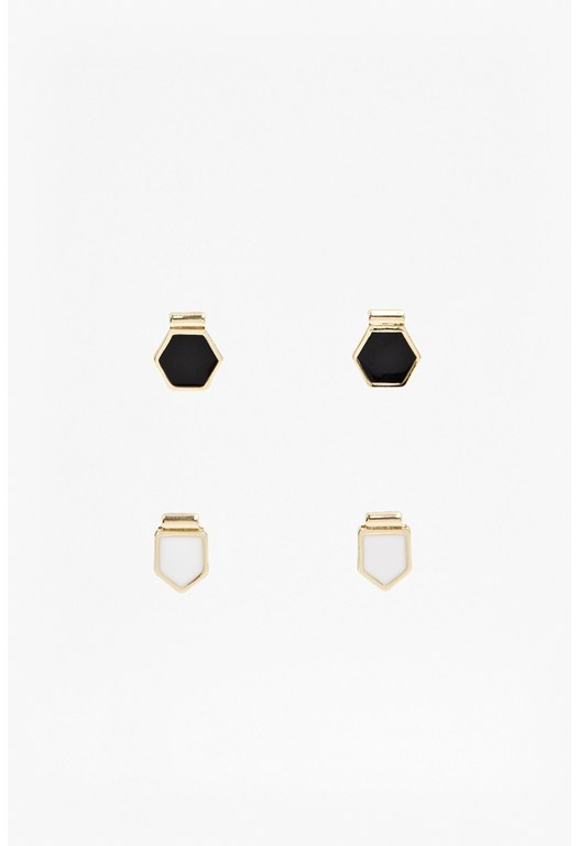 Hexagon And Arrow Stud Earring Set