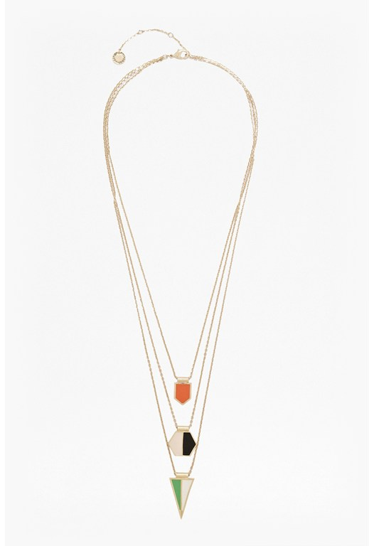 Geometric Triple Strand Pendant Necklace