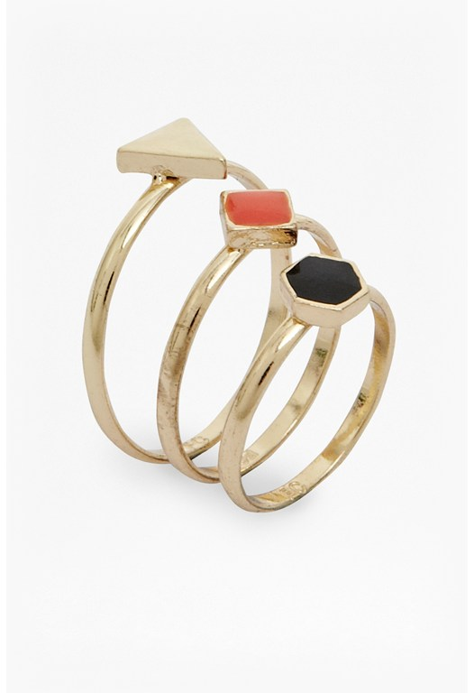 Geometric Stud Ring Set