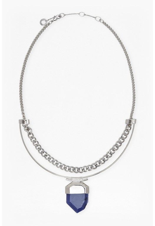 Stone And Chain Collar Necklace