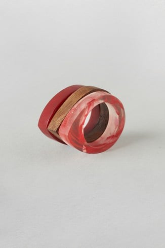 Wood Resin Ring Set