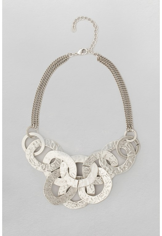 Multi Link Metal Collar Necklace Silver