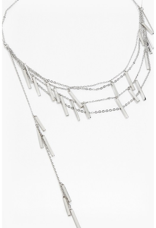 Draped Metal Bar Necklace