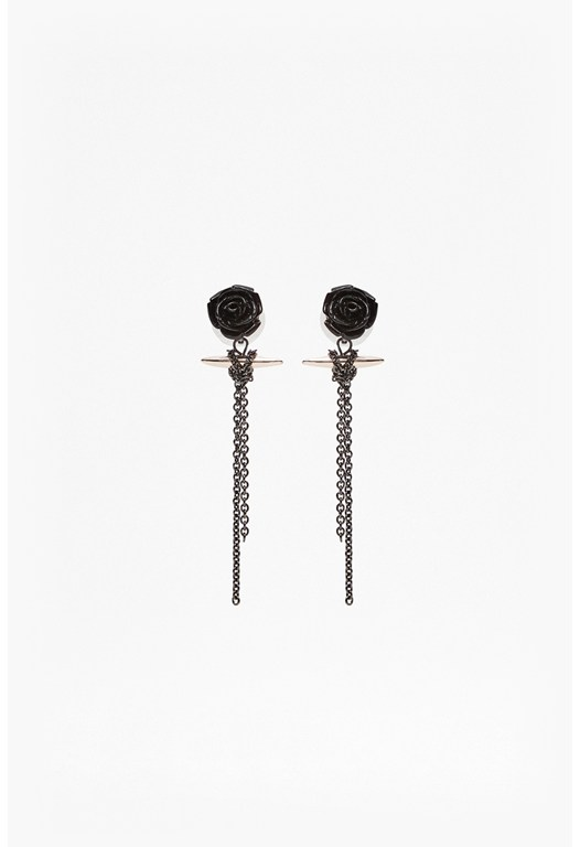 Rose And Spike Linear Drop Earrings
