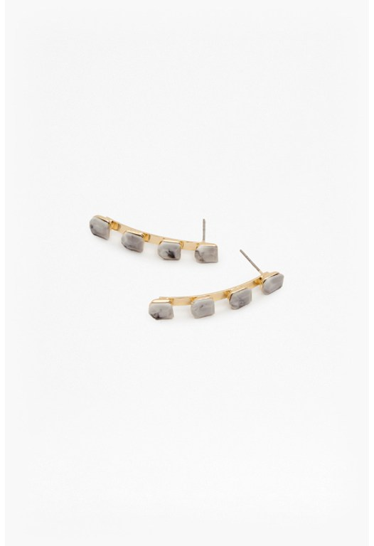 Stone Curve Drop Earrings