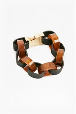 Looks Great With Resin Leather Look Link Bracelet
