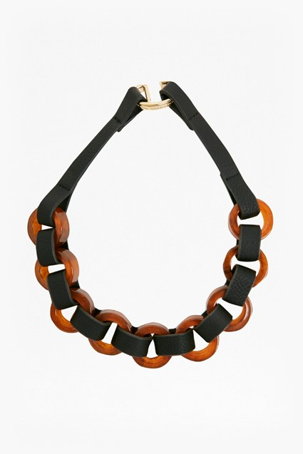 20 Inch Resin Leather Look Link Necklace