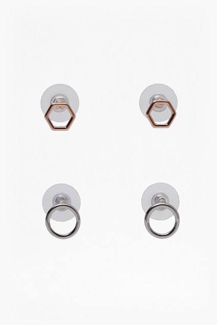 Small Hexagonal Stud Earring Set